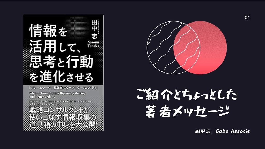 ご紹介とちょっとした 著者メッセージ 田中志, Cobe Associe 01