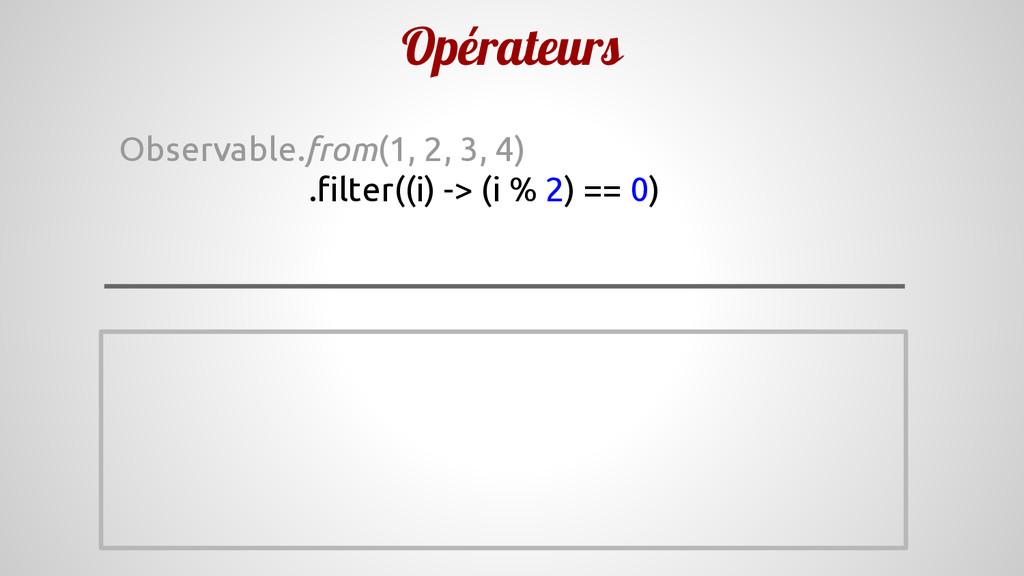 Opérateurs Observable.from(1, 2, 3, 4) .filter(...