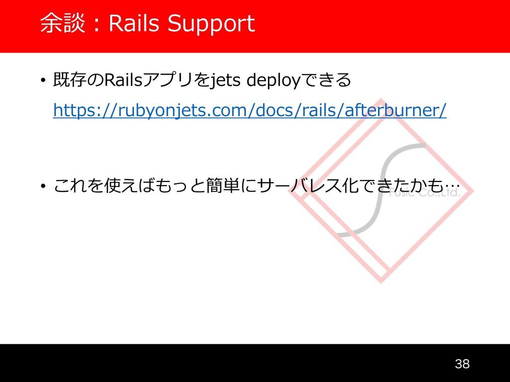 余談︓Rails Support  • 既存のRailsアプリをjets deployでき...