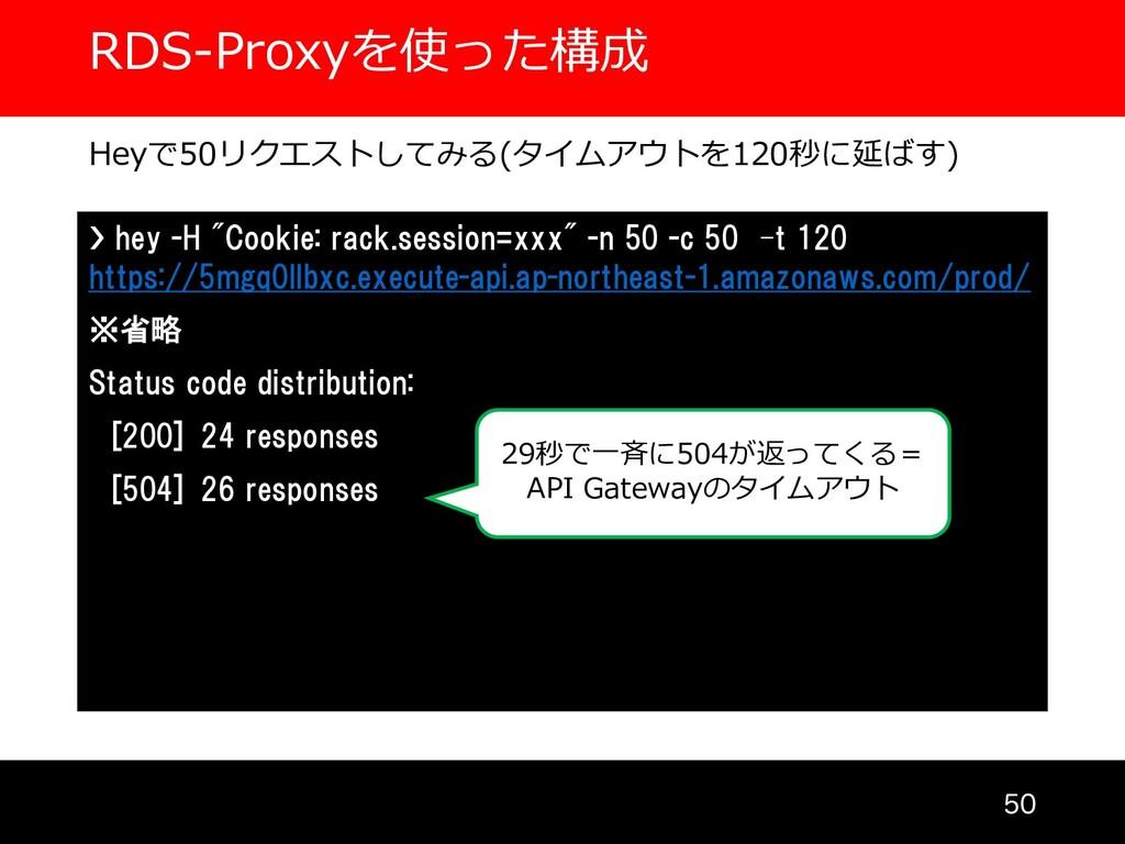 RDS-Proxyを使った構成  Heyで50リクエストしてみる(タイムアウトを120秒に...