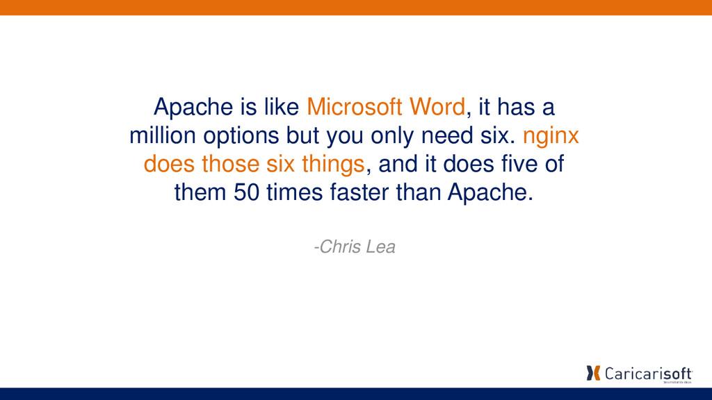 Apache is like Microsoft Word, it has a million...