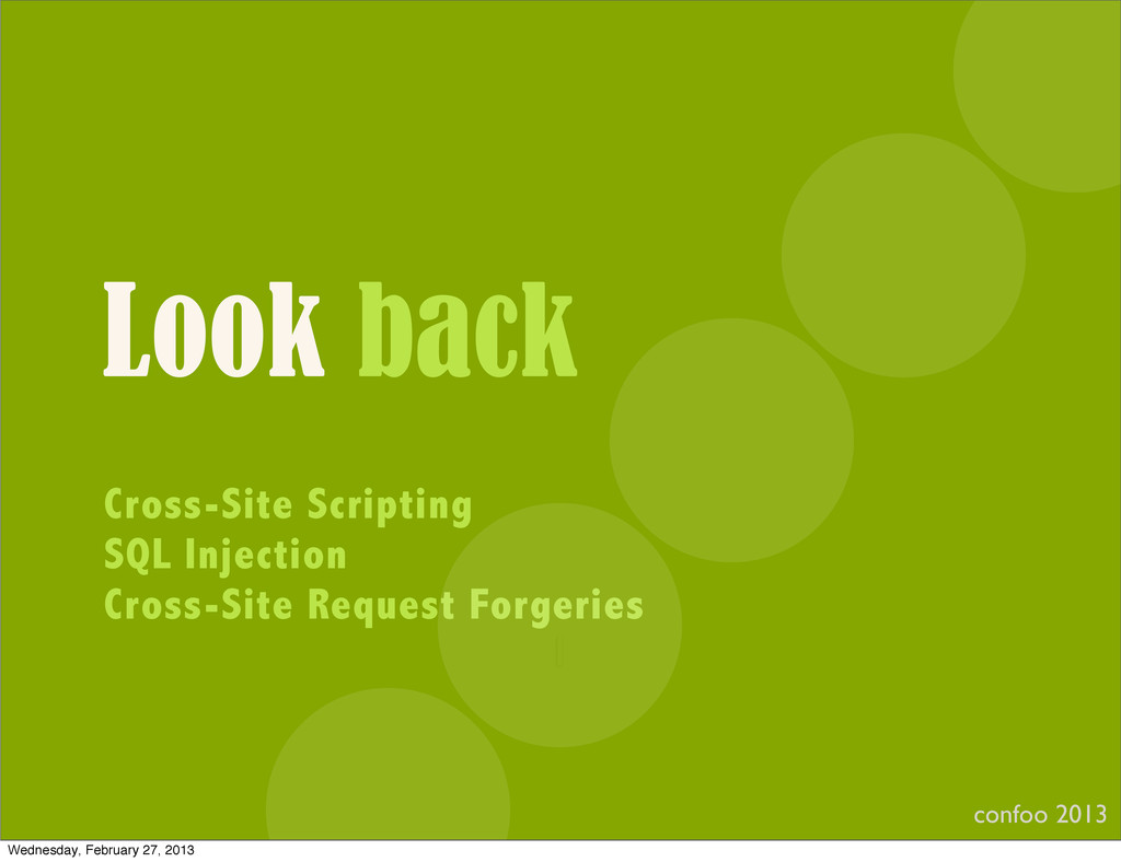 Look back Cross-Site Scripting SQL Injection Cr...