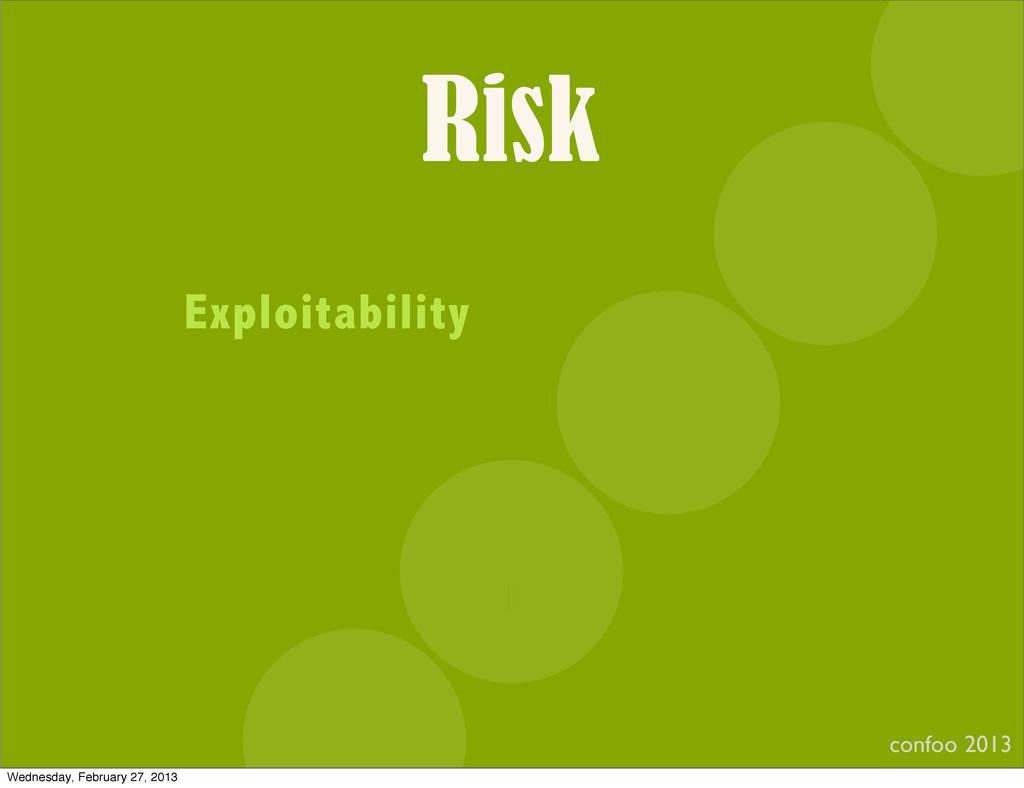 Risk confoo 2013 I Exploitability Wednesday, Fe...