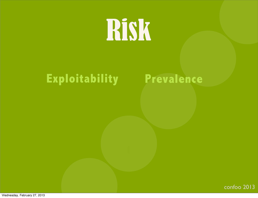 Risk confoo 2013 I Exploitability Prevalence We...