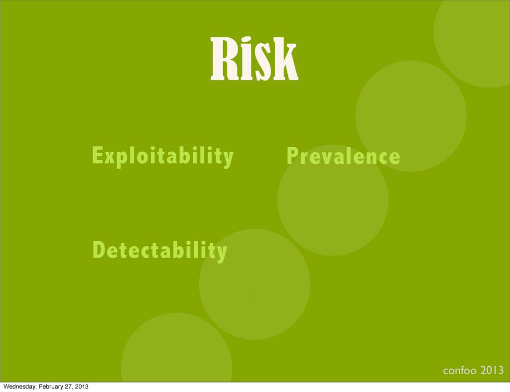 Risk confoo 2013 I Exploitability Prevalence De...