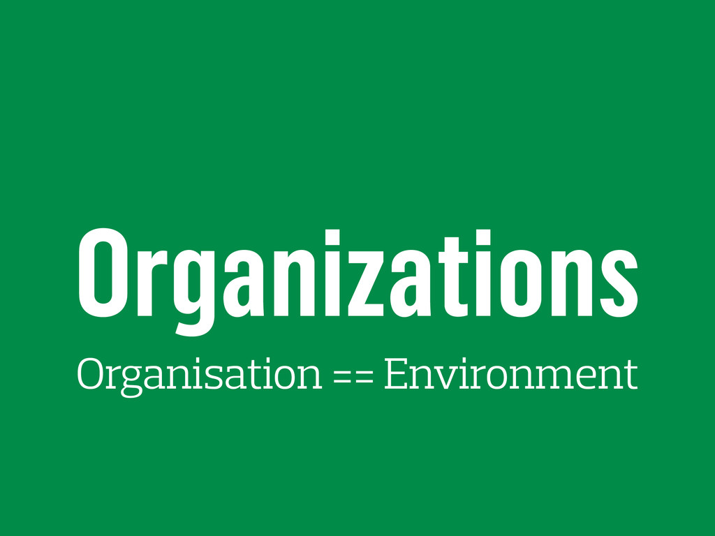 Organizations Organisation == Environment