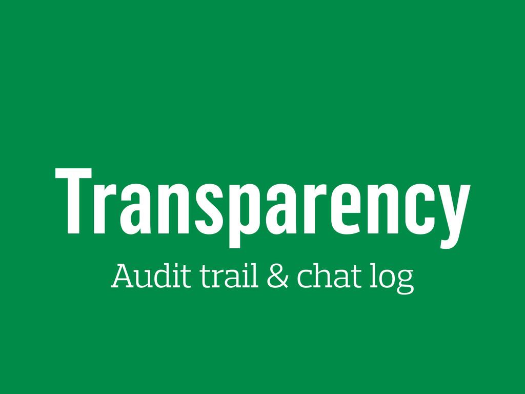 Transparency Audit trail & chat log