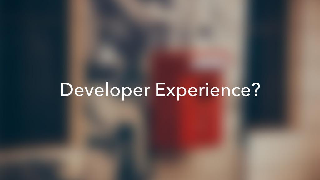 Developer Experience?