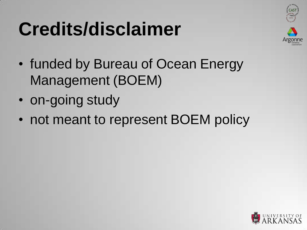 Credits/disclaimer • funded by Bureau of Ocean ...