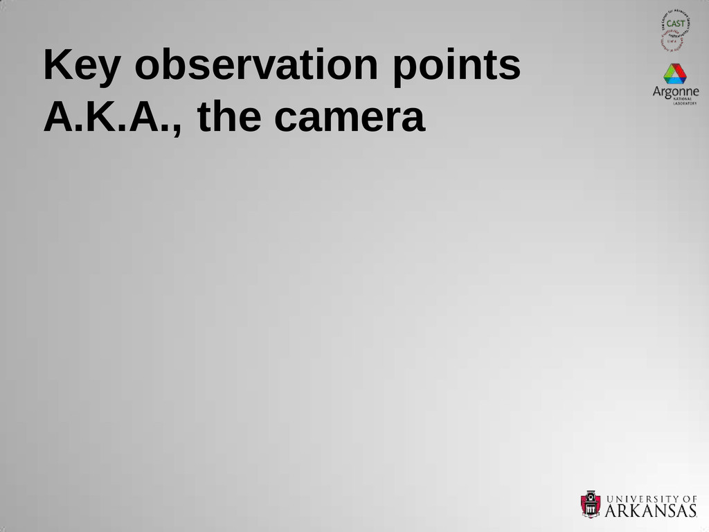 Key observation points A.K.A., the camera