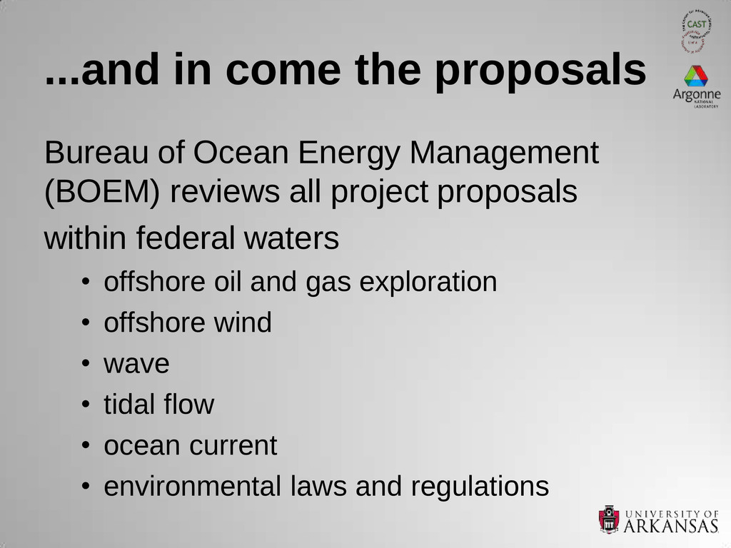 ...and in come the proposals Bureau of Ocean En...