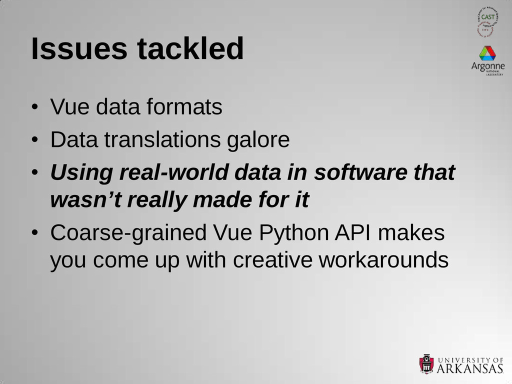 Issues tackled • Vue data formats • Data transl...