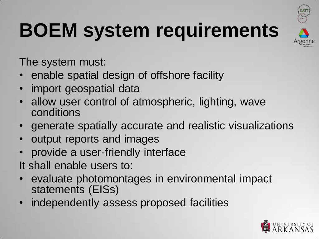 BOEM system requirements The system must: • ena...