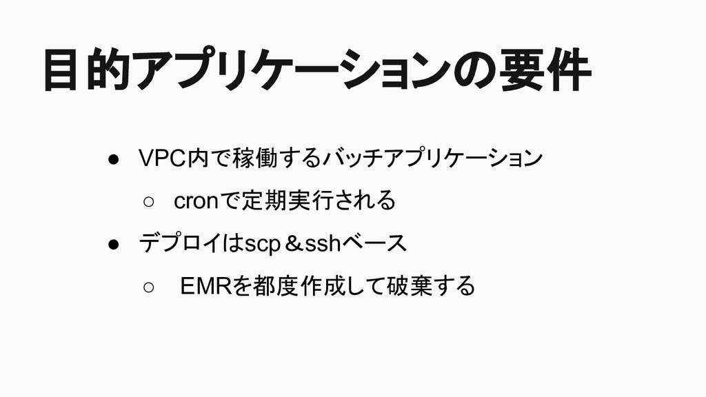 目的アプリケーションの要件 ● VPC内で稼働するバッチアプリケーション ○ cronで定期実...
