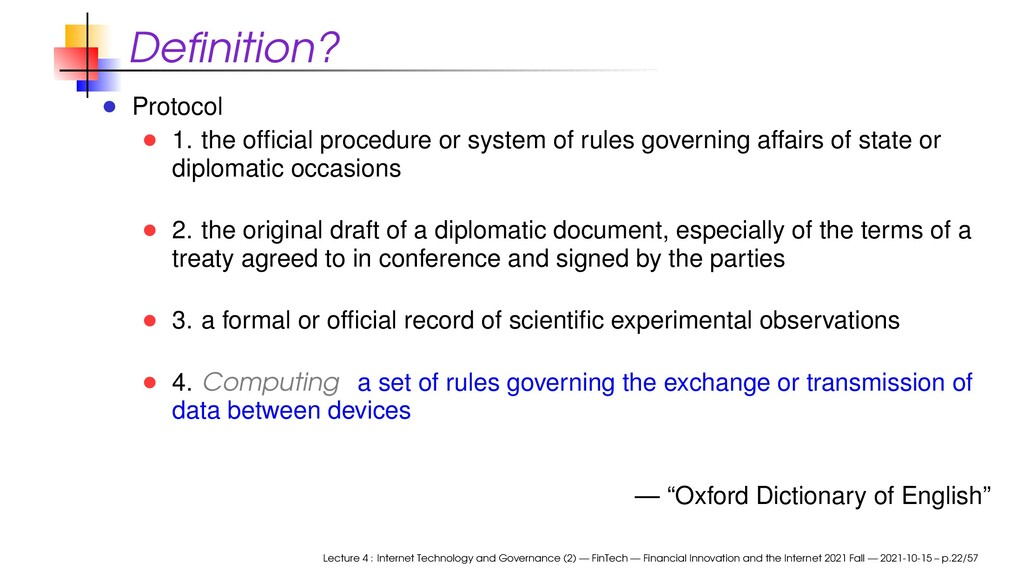 Definition? Protocol 1. the official procedure or...