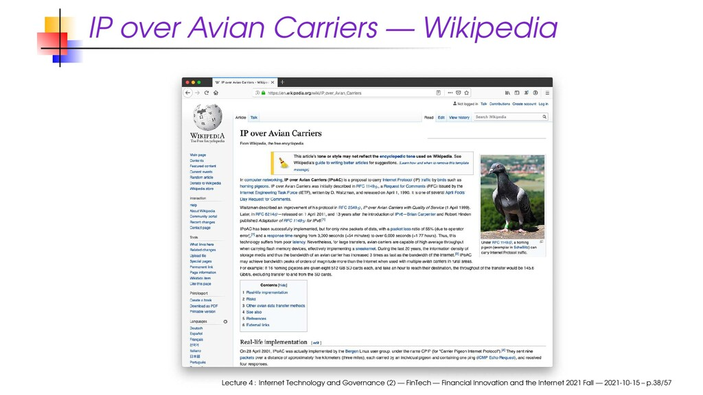 IP over Avian Carriers — Wikipedia Lecture 4 : ...