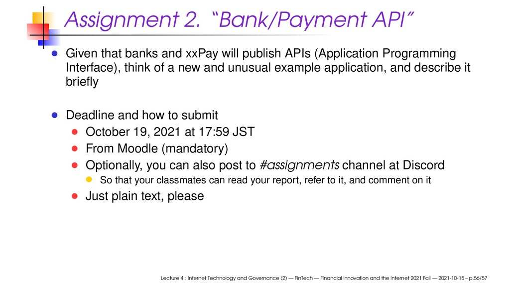 """Assignment 2. """"Bank/Payment API"""" Given that ban..."""