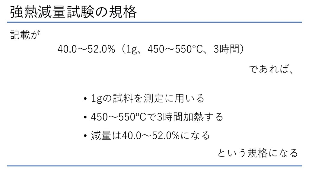 強熱減量試験の規格 40.0~52.0%(1g、450~550ºC、3時間) 記載が であれば...