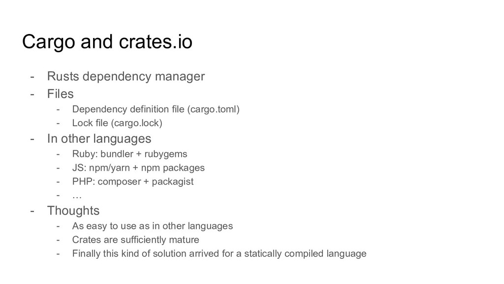 Cargo and crates.io - Rusts dependency manager ...
