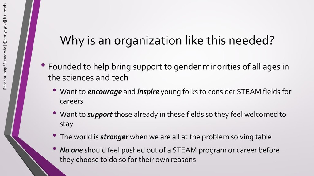Why is an organization like this needed? • Foun...