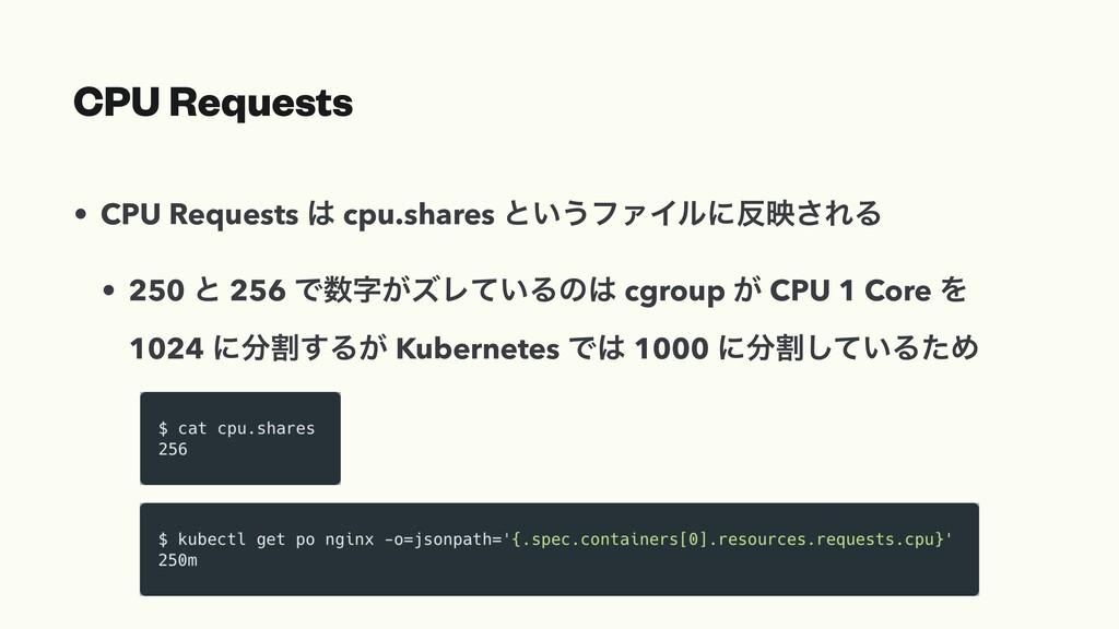 CPU Requests • CPU Requests  cpu.shares ͱ͍͏ϑΝΠ...