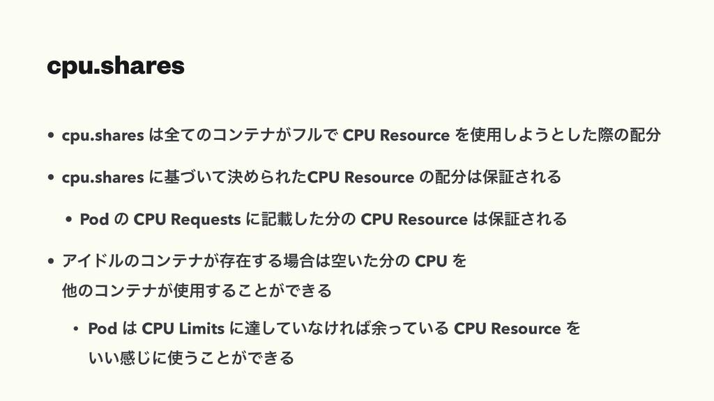 cpu.shares • cpu.shares શͯͷίϯςφ͕ϑϧͰ CPU Resour...