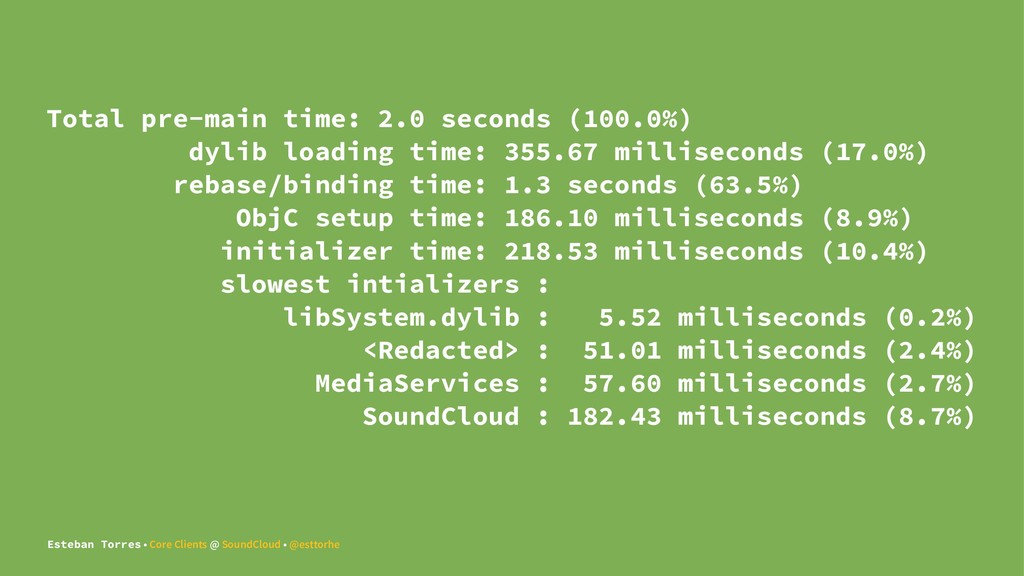 Total pre-main time: 2.0 seconds (100.0%) dylib...