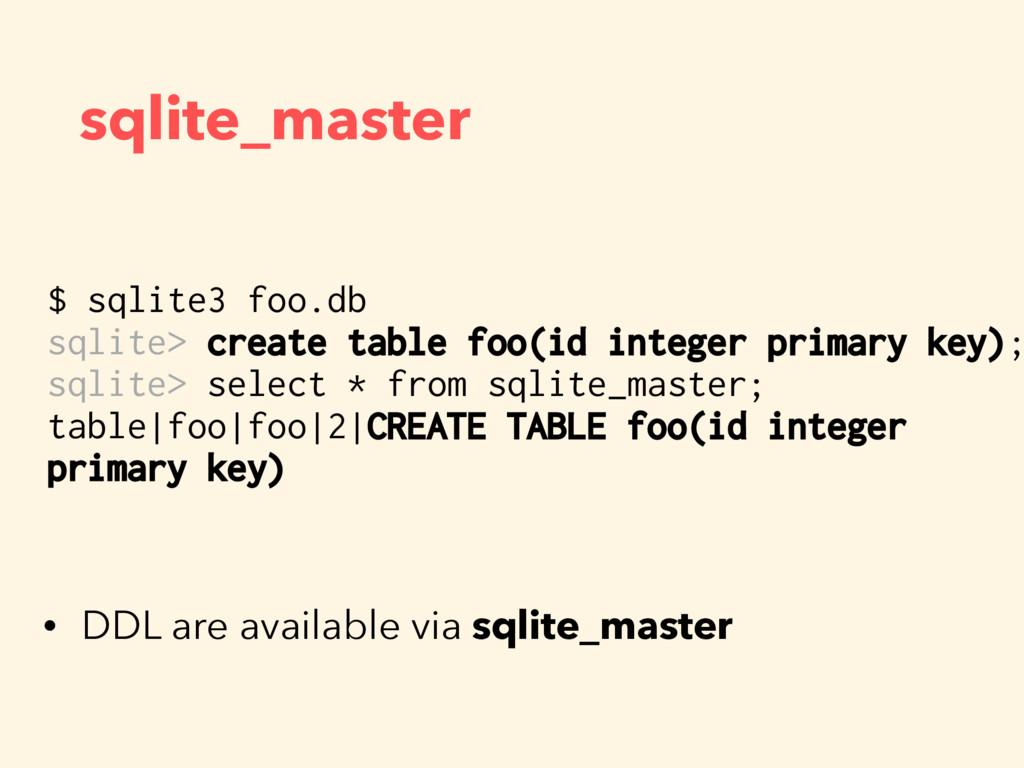 sqlite_master $ sqlite3 foo.db sqlite> create t...