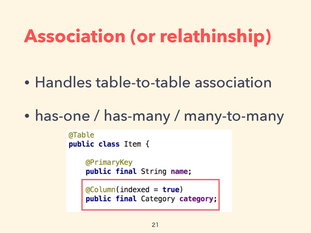 Association (or relathinship) • Handles table-t...