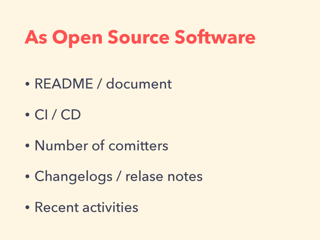 As Open Source Software • README / document • C...