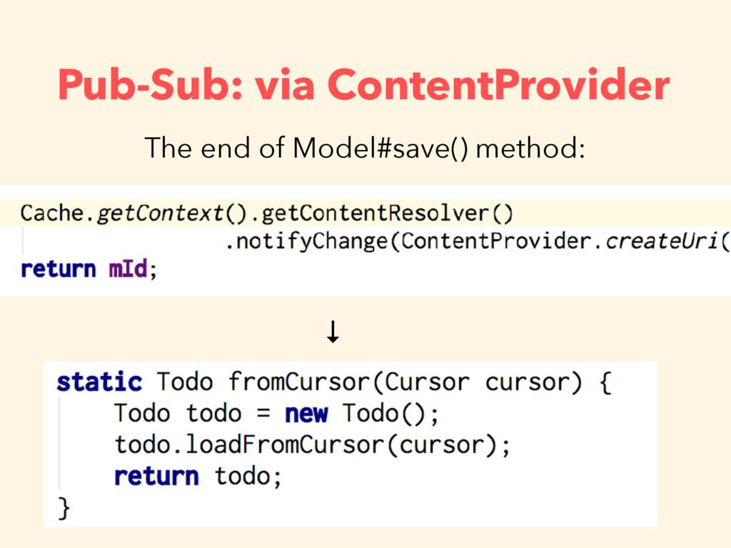 Pub-Sub: via ContentProvider The end of Model#s...