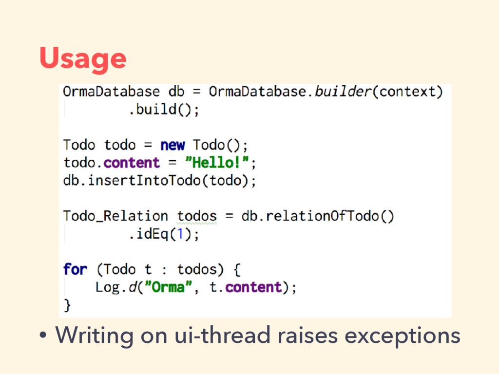 Usage • Writing on ui-thread raises exceptions