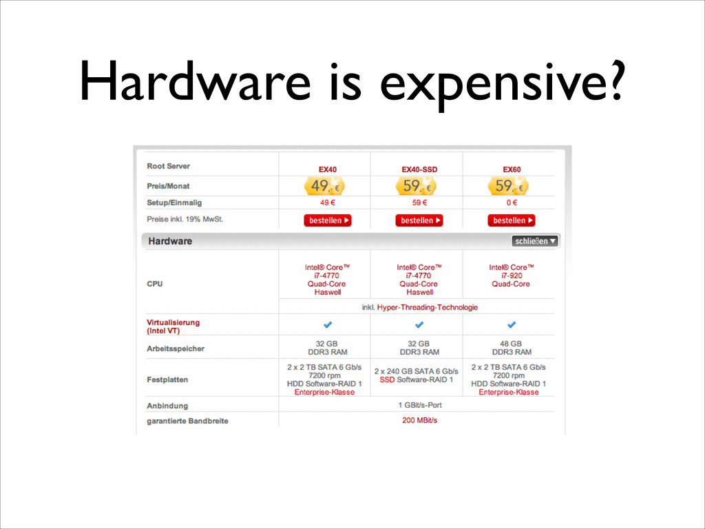 Hardware is expensive?