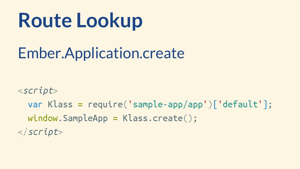 Route Lookup <script> var Klass = require('samp...