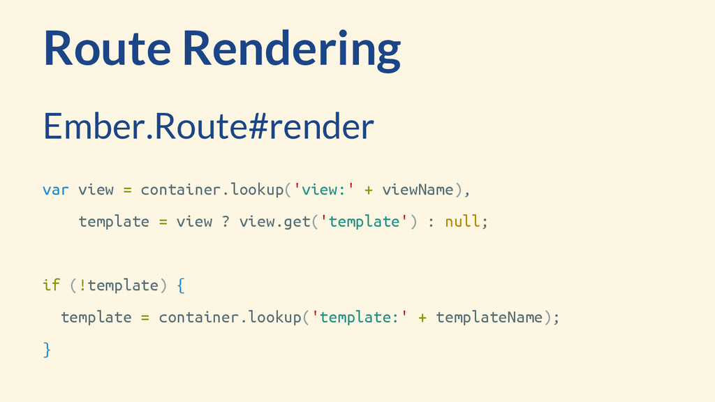 Route Rendering var view = container.lookup('vi...