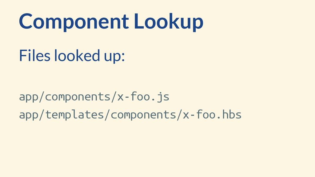 Component Lookup app/components/x-foo.js app/te...