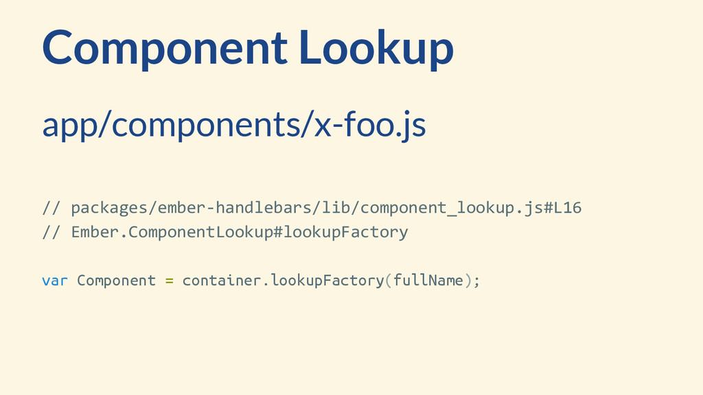 Component Lookup app/components/x-foo.js // pac...