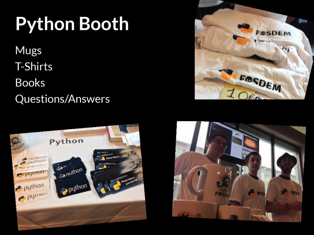Python Booth Mugs T-Shirts Books Questions/Answ...