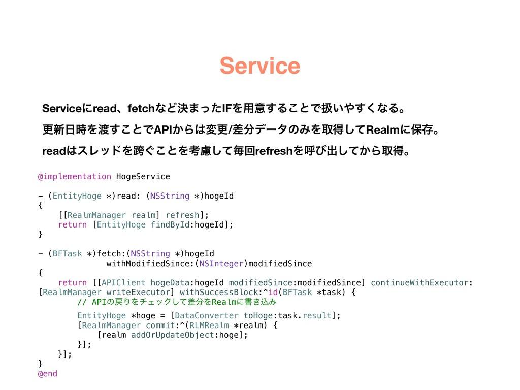 Service @implementation HogeService - (EntityHo...