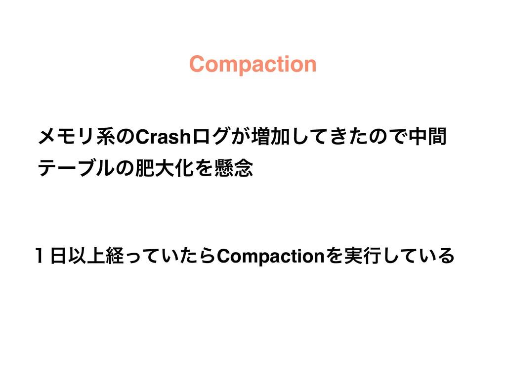 Compaction ϝϞϦܥͷCrashϩά͕૿Ճ͖ͯͨ͠ͷͰதؒ ςʔϒϧͷංେԽΛݒ೦ ...