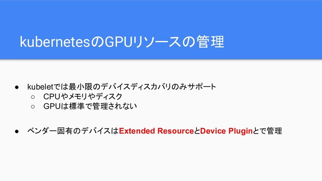 kubernetesのGPUリソースの管理 ● kubeletでは最小限のデバイスディスカバリ...