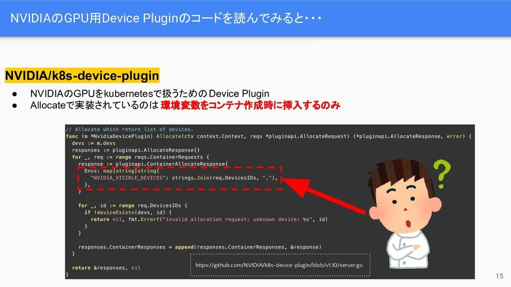 NVIDIAのGPU用Device Pluginのコードを読んでみると・・・ 15 NVIDI...