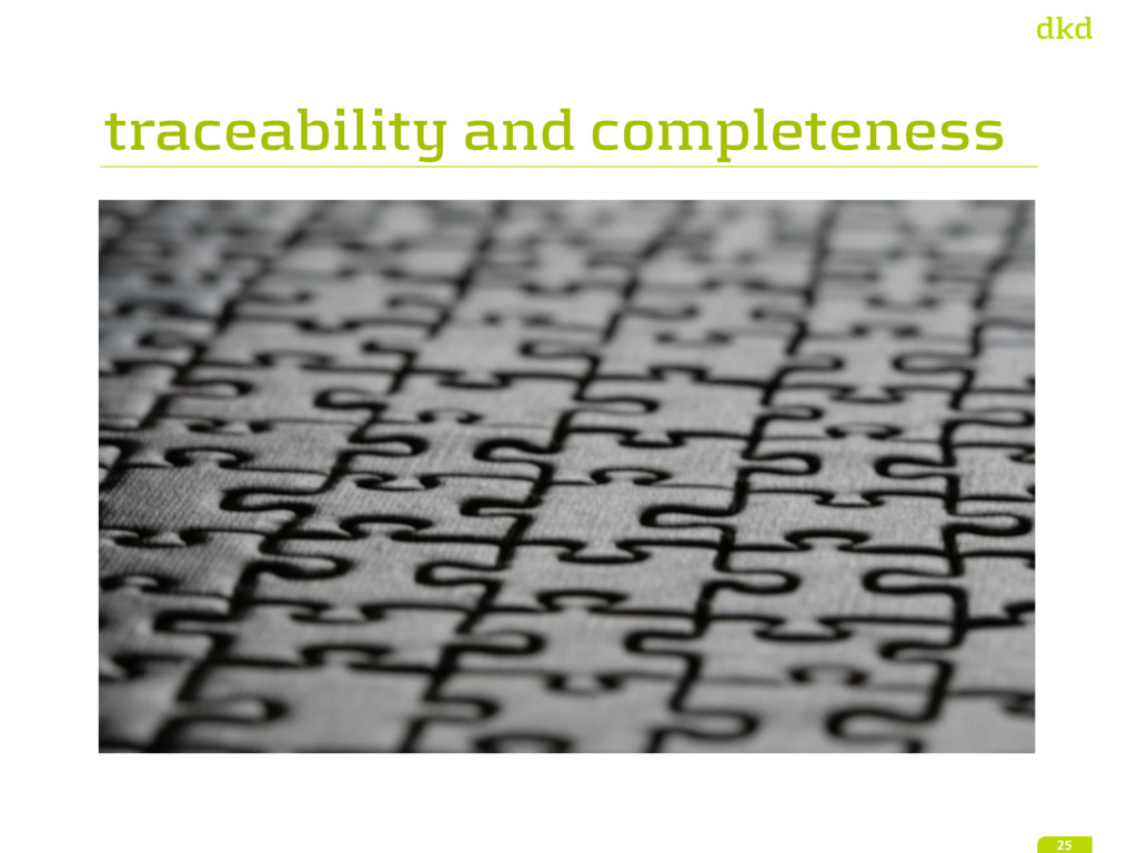traceability and completeness 25