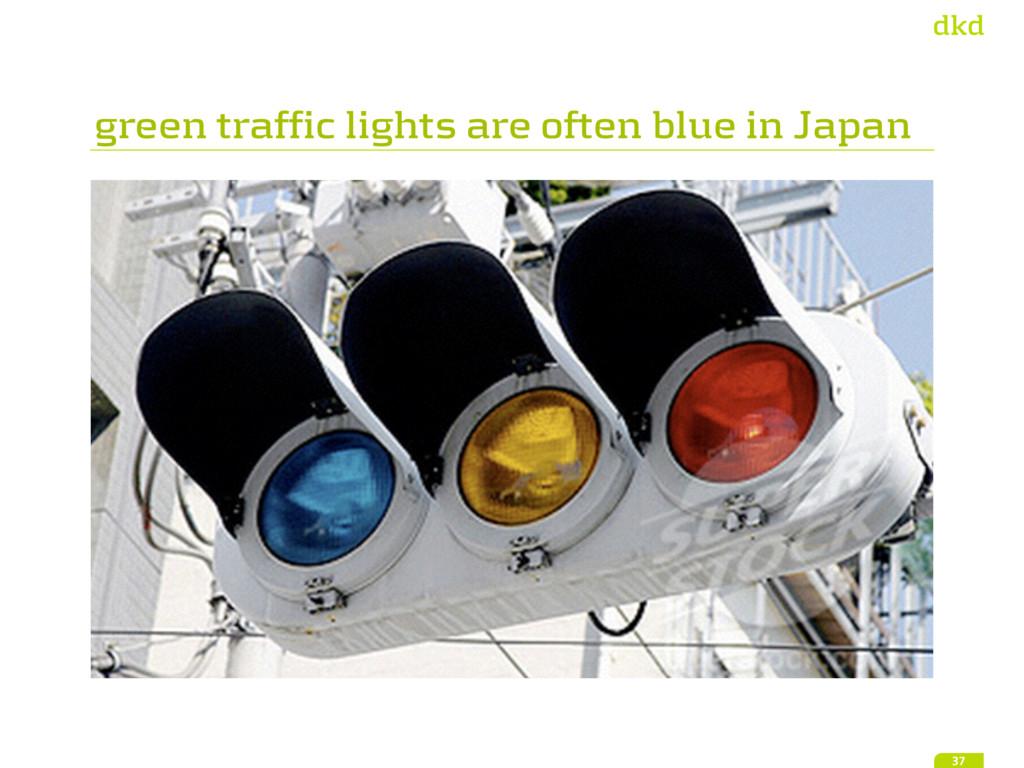 green traffic lights are often blue in Japan 37