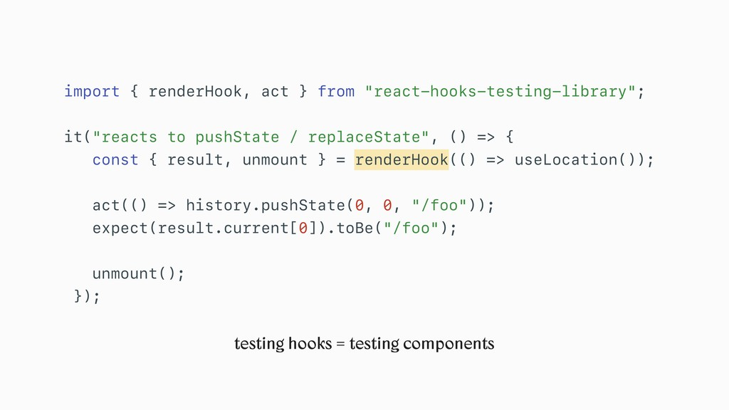 "import { renderHook, act } from ""react-hooks-te..."