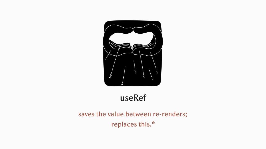 useRef saves the value between re-renders; repl...