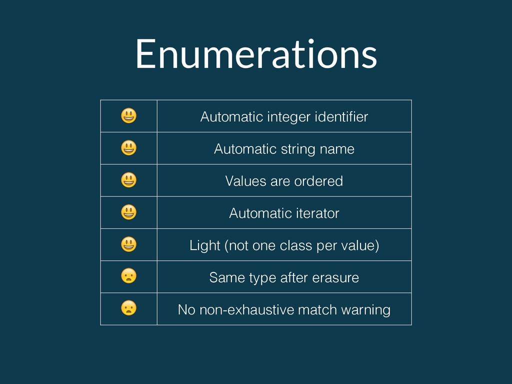 Enumerations  Automatic integer identifier  Auto...