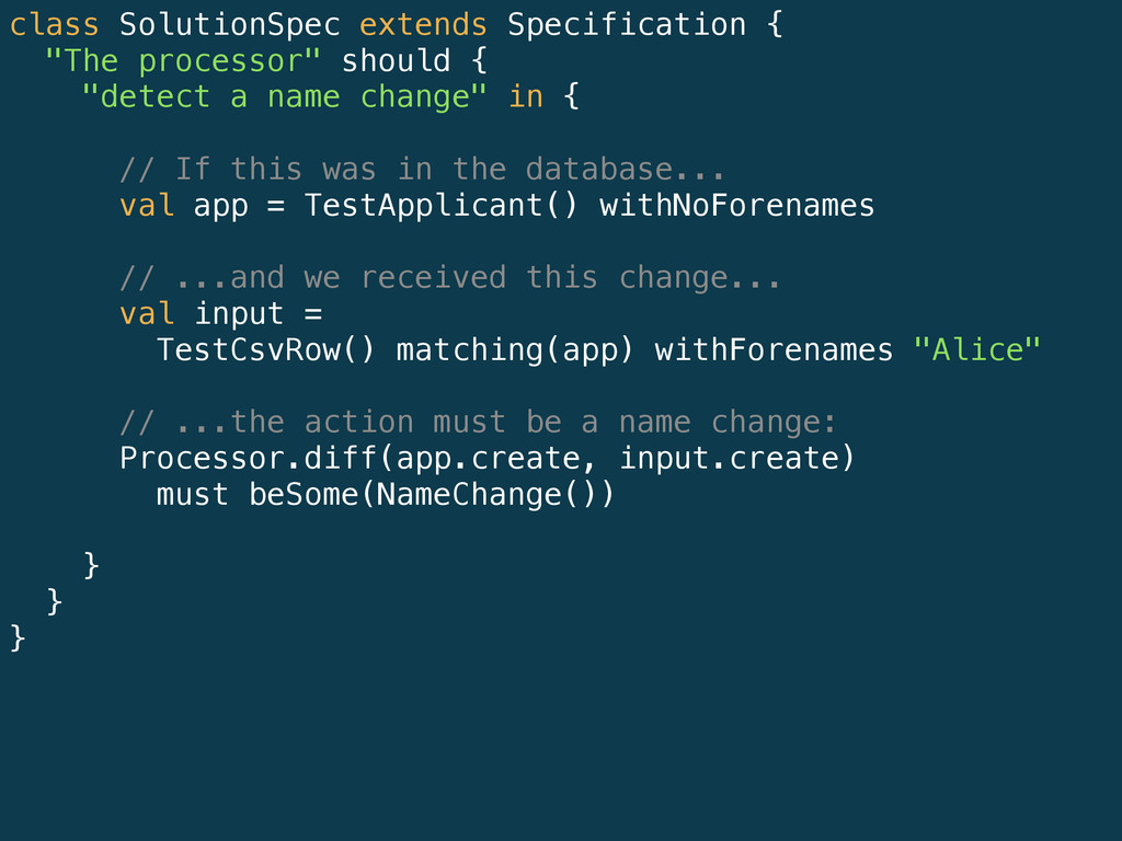 """class SolutionSpec extends Specification { """"The..."""
