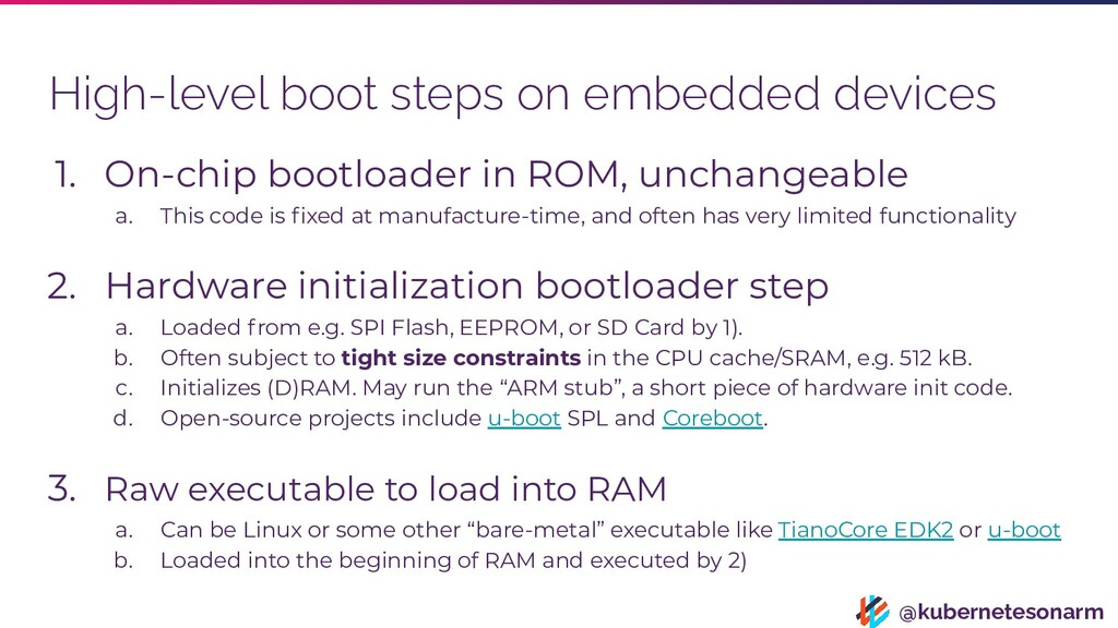 @kubernetesonarm High-level boot steps on embed...