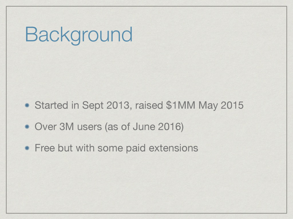 Background Started in Sept 2013, raised $1MM Ma...